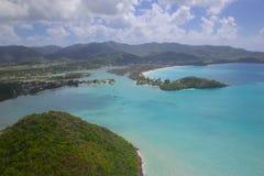 Δυτικές Ινδίες, Καραϊβικές Θάλασσες, Αντίγκουα, άποψη άνω των του λιμανιού πέντε νησιών Στοκ εικόνες με δικαίωμα ελεύθερης χρήσης