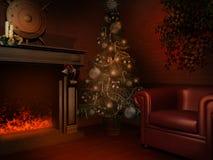 Δωμάτιο με τις διακοσμήσεις Χριστουγέννων Στοκ Εικόνα