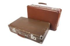 Δύο αναδρομικές βαλίτσες Στοκ φωτογραφία με δικαίωμα ελεύθερης χρήσης