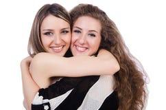 Δύο θηλυκοί φίλοι που απομονώνονται Στοκ εικόνα με δικαίωμα ελεύθερης χρήσης