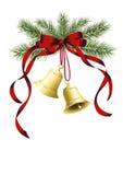 Δύο κουδούνια Χριστουγέννων Στοκ εικόνα με δικαίωμα ελεύθερης χρήσης