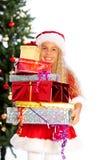 δώρα που κρατούν το santa δεσ&pi Στοκ Φωτογραφία