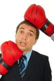 давление бизнесмена вниз Стоковая Фотография