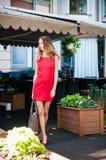 Дама в красном платье Стоковое фото RF
