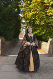 Дама в средневековом костюме Стоковые Фотографии RF