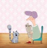 Дама читает газету Стоковые Фотографии RF