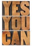 Да вы можете фраза мотивировки Стоковая Фотография RF