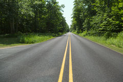 Двойная желтая линия Стоковая Фотография RF