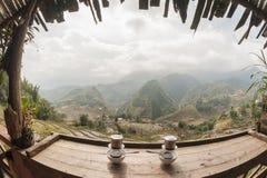 Двойной взгляд панорамы стиля вьетнамца кофе Стоковая Фотография RF
