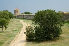 Девичья башня в старой турецкой крепости Akkerman, Украине Стоковое Изображение