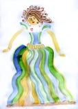 Девушка акварели с платьем Стоковое фото RF