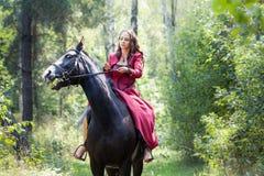 Девушка брюнет на лошади Стоковое Изображение RF