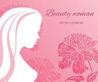 Девушка вектора красивая с цветками пионов Стоковые Изображения RF