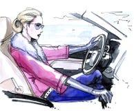 девушка водителя Стоковая Фотография