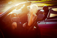 Девушка в cabriolet Стоковое Изображение RF