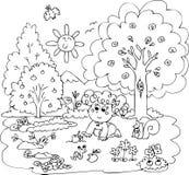 Девушка играя с маленькими животными Стоковое Фото
