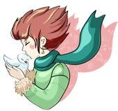 Девушка и голубь Стоковое Изображение RF