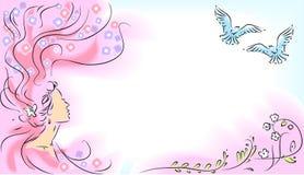 Девушка и летящие птицы Стоковые Изображения