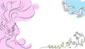 Девушка и летящие птицы Стоковые Фото