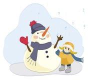 Девушка и снеговик Стоковая Фотография