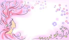 Девушка и цветки Стоковая Фотография RF