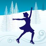 Девушка катаясь на коньках снаружи Стоковые Изображения RF