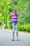 Девушка конька ролика Стоковая Фотография