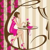Девушка кофе Стоковая Фотография