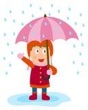 девушка меньший зонтик Стоковые Фотографии RF