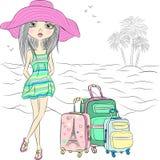 Девушка моды вектора красивая на пляже моря Стоковое Изображение