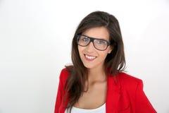 Девушка моды с красной курткой Стоковое фото RF