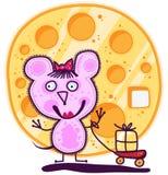 Девушка мыши и большой сыр Стоковое Изображение RF