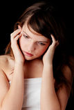 девушка нажатия подростковая Стоковая Фотография RF