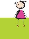 Девушка на зеленом знамени Стоковая Фотография
