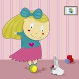 Девушка на шарике Стоковые Фото