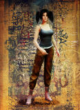 Девушка отрезка провода милая в уличной одежде Стоковое Фото