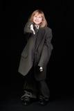 девушка папаа дела указывая костюм s Стоковые Фотографии RF
