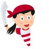 Девушка пирата и пустое знамя Стоковое фото RF