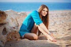 девушка пляжа красивейшая Стоковые Фотографии RF