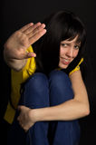 Девушка показывает стоп руки Стоковое фото RF
