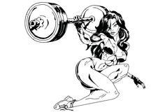 Девушка поднимает тяжелую штангу Стоковые Фотографии RF