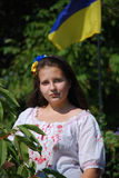 Девушка подростка в украинском национальном костюме Стоковые Фото