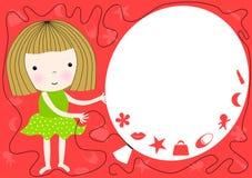 Девушка проводя приглашение партии воздушного шара Стоковые Фото