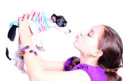 девушка собаки она Стоковая Фотография RF
