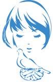 Девушка с голубем Стоковое Фото