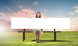 Девушка с знаменем Стоковые Изображения RF