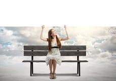 Девушка с знаменем Стоковые Фотографии RF