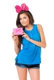 Девушка с коробкой подарка Стоковое фото RF