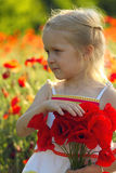Девушка с маками Стоковое фото RF