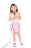 Девушка с микрофоном Стоковое Изображение RF